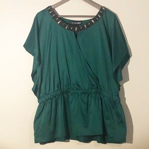 Lane Bryant Emerald Green Top With Jewels